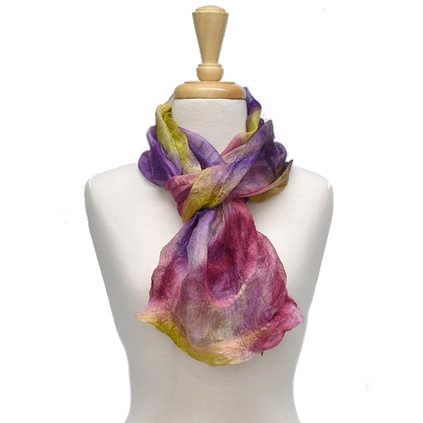 Ruffled Nuno Felted Merino Wool and Silk Art Scarf - 13103| Wool Felt Scarves | Sally Ridgway | Shop Wool, Felt and Fibre Online
