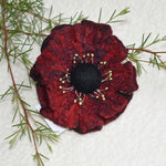 Wool Felt Flower Brooch Pin in Red and Black 13179| Brooch | Sally Ridgway | Shop Wool, Felt and Fibre Online