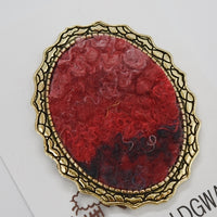 Red Wool Felt and Metal Oval Brooch Pin 13024| Brooch | Sally Ridgway | Shop Wool, Felt and Fibre Online