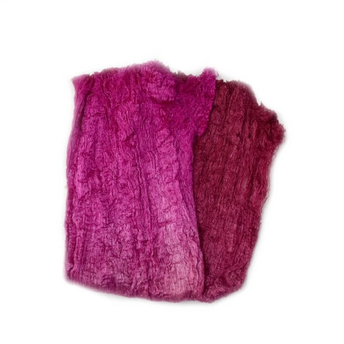 Mulberry Silk Cocoon Sheet Fabric Hand Dyed Crimson Blend 12685| Silk Cocoon Sheets | Sally Ridgway | Shop Wool, Felt and Fibre Online