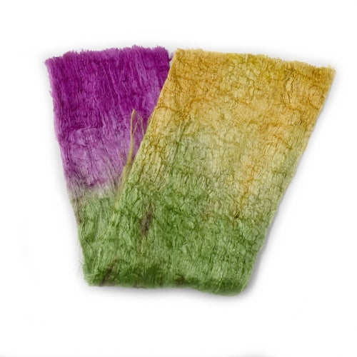 Mulberry Silk Cocoon Sheet Fabric Hand Dyed Crimson Green and Yellow 12679| Silk Cocoon Sheets | Sally Ridgway | Shop Wool, Felt and Fibre Online