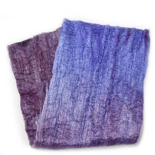 Mulberry Silk Cocoon Sheet Fabric Hand Dyed Dusty Plum Purple 12680| Silk Cocoon Sheets | Sally Ridgway | Shop Wool, Felt and Fibre Online