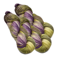 Sock Yarn 4 Ply Australian Merino Wool Knitting Yarn Hand Dyed Moss Green Purple 12778| Sock Yarn | Sally Ridgway | Shop Wool, Felt and Fibre Online