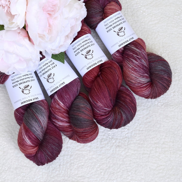 4 Ply Supreme Sock Yarn Hand Dyed in Blackberry 12950| Sock Yarn | Sally Ridgway | Shop Wool, Felt and Fibre Online