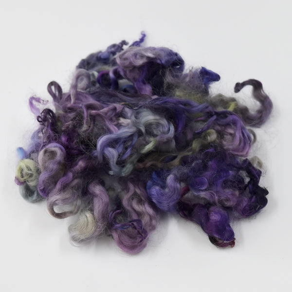 Tasmanian English Leicester Lamb Locks Hand Dyed Garden Plum 12963| English Leicester Wool Tops | Sally Ridgway | Shop Wool, Felt and Fibre Online