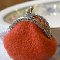 Wool Felted Coin Purse Stitch Marker Pouch Orange 12785| Coin Purse | Sally Ridgway | Shop Wool, Felt and Fibre Online