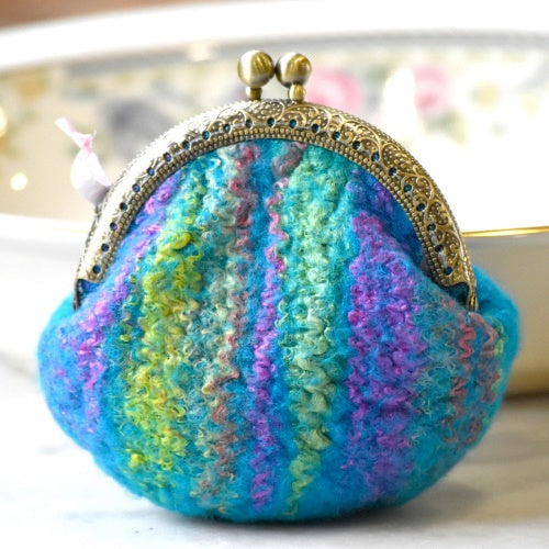 Wool Felted Coin Purse Stitch Marker Pouch Blue 12786| Coin Purse | Sally Ridgway | Shop Wool, Felt and Fibre Online