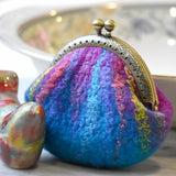 Wool Felted Coin Purse Stitch Marker Pouch Blue and Pink 12788| Coin Purse | Sally Ridgway | Shop Wool, Felt and Fibre Online