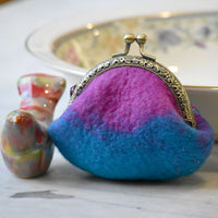 Wool Felted Coin Purse Stitch Marker Pouch in Blue and Pink 12789| Coin Purse | Sally Ridgway | Shop Wool, Felt and Fibre Online