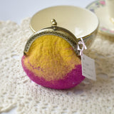 Wool Felted Coin Purse Kiss Lock Pouch in Pink and Yellow 12803| Coin Purse | Sally Ridgway | Shop Wool, Felt and Fibre Online