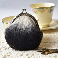 Wool Felted Coin Purse Kiss Lock Pouch in Black and White 12804| Coin Purse | Sally Ridgway | Shop Wool, Felt and Fibre Online