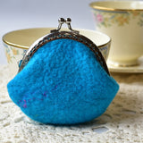 Wool Felted Coin Purse Kiss Lock Accessory Pouch in Opal Blue 12805| Coin Purse | Sally Ridgway | Shop Wool, Felt and Fibre Online