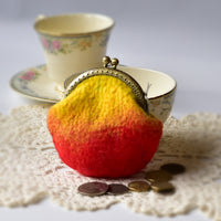 Wool Felted Coin Purse Kiss Lock Pouch in Yellow and Orange 12806| Coin Purse | Sally Ridgway | Shop Wool, Felt and Fibre Online