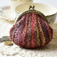 Wool Felted Coin Purse Kiss Lock Pouch in Brown 12807| Coin Purse | Sally Ridgway | Shop Wool, Felt and Fibre Online