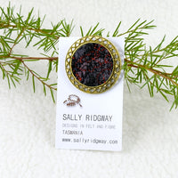 Wool Felt and Metal Brooch Red and Black 13225| Brooch | Sally Ridgway | Shop Wool, Felt and Fibre Online