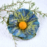 Teal Blue Large Wool Felt Flower Brooch Pin 13229| Brooch | Sally Ridgway | Shop Wool, Felt and Fibre Online