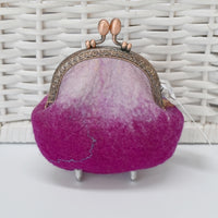 Raspberry Pink Hand Made Wool Felted Coin or Accessory Purse 13016| Coin Purse | Sally Ridgway | Shop Wool, Felt and Fibre Online