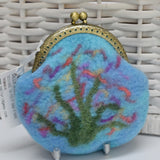 Hand Made Wool Felted Coin or Accessory Purse in Opal Blue 13015| Coin Purse | Sally Ridgway | Shop Wool, Felt and Fibre Online