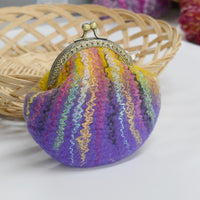 Purple and Yellow Wool Felted Coin or Accessory Purse 12997| Coin Purse | Sally Ridgway | Shop Wool, Felt and Fibre Online