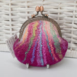 Hand Made Wool Felted Coin or Accessory Purse in Raspberry 13014| Coin Purse | Sally Ridgway | Shop Wool, Felt and Fibre Online