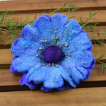 Large Wool Felt Poppy Flower Brooch Pin in Opal Blue and Purple 13223| Brooch | Sally Ridgway | Shop Wool, Felt and Fibre Online