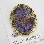 Wool Felt and Metal Round Brooch Pin in Aubergine 13145| Brooch | Sally Ridgway | Shop Wool, Felt and Fibre Online