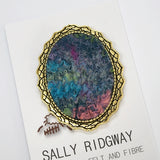 Wool Felt and Metal Oval Brooch Pin in Turquoise 13146| Brooch | Sally Ridgway | Shop Wool, Felt and Fibre Online