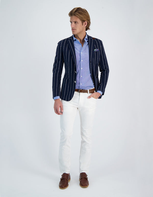 BLAZER EN PIQUE DE COTON STRETCH FREETIME