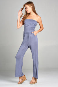 Ladies fashion tube top long wide leg rayon spandex jumpsuit - LANE FORTY SIX