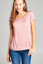 Load image into Gallery viewer, Ladies fashion short sleeve scoop neck w/pocket rayon slub top - LANE FORTY SIX