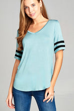 Load image into Gallery viewer, Ladies fashion short double stripe sleeve v-neck rayon spandex top - LANE FORTY SIX