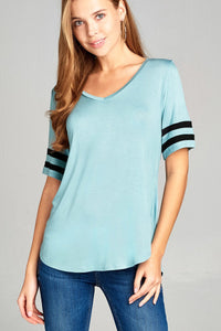Ladies fashion short double stripe sleeve v-neck rayon spandex top - LANE FORTY SIX