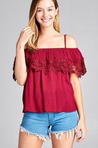 Ladies fashion open shoulder flounce w/crochet lace crinkle gauze woven top - LANE FORTY SIX