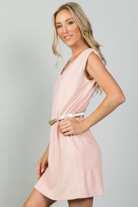 Ladies fashion gold rope neckline applique pink faux suede belted mini dress - LANE FORTY SIX