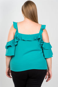 Ladies fashion plus size cold shoulder ruffle zipper o-ring top - LANE FORTY SIX