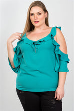Load image into Gallery viewer, Ladies fashion plus size cold shoulder ruffle zipper o-ring top - LANE FORTY SIX