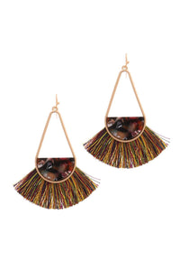 Long tear drop shape half acetate tassel drop earring