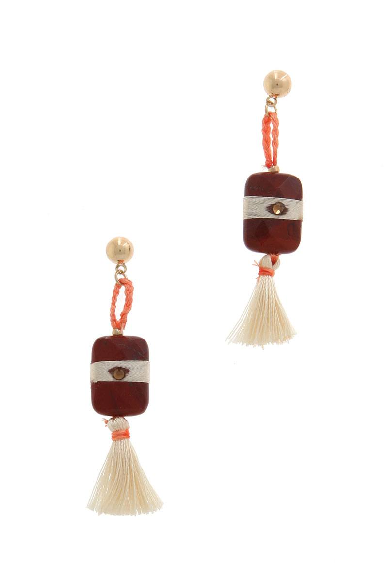 Natural stone tassel drop earring