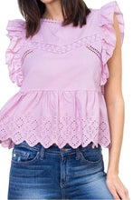 Load image into Gallery viewer, Sleeveless ruffle trim eyelet top - LANE FORTY SIX