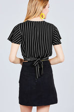 Load image into Gallery viewer, Short Sleeve V-neck W/surplice Tie Detail Multi Stripe Print Woven Top