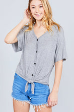 Load image into Gallery viewer, Short Dolman Sleeve V-neck W/button Detail Front Tie Rayon Spandex Cardigan