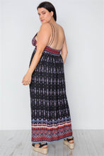 Load image into Gallery viewer, Plus Size Multi Black Paisley Print Maxi Boho Dress