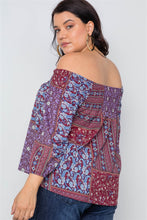 Load image into Gallery viewer, Plus Size Off-the-shoulder Multi Print Top