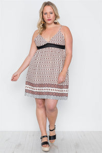 Plus Size Peach Paisley Print Cami Slip On Mini Dress