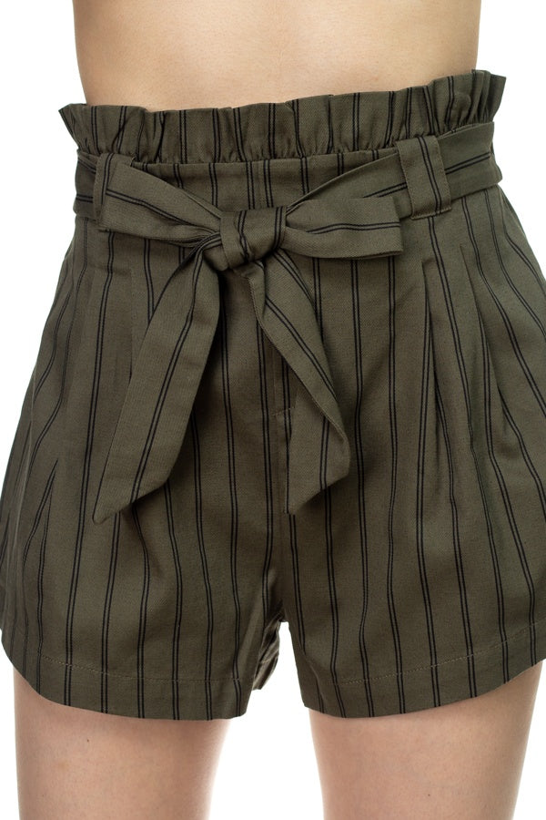 Pin Stripe Belted Mini Shorts