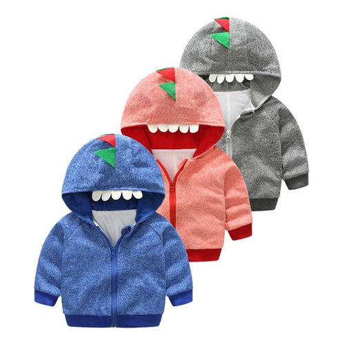 Dinosaur Long Sleeve Hooded  Front Zipper Sweatshirt - LANE FORTY SIX