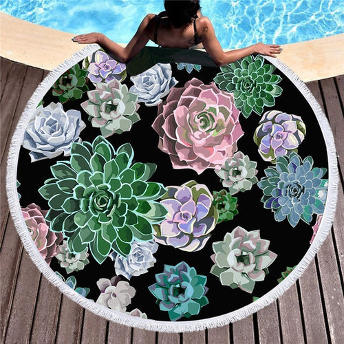 Succulent Large Round Beach Towel 60 inches