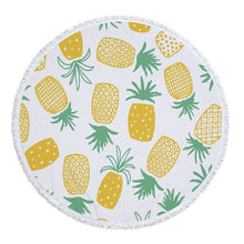 Load image into Gallery viewer, Summer Round Beach Towel Pineapples and Succulents