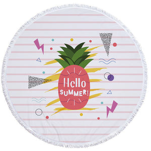 Summer Round Beach Towel Pineapples and Succulents