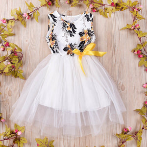 Girls Tulle Floral Print Tutu Dress - LANE FORTY SIX